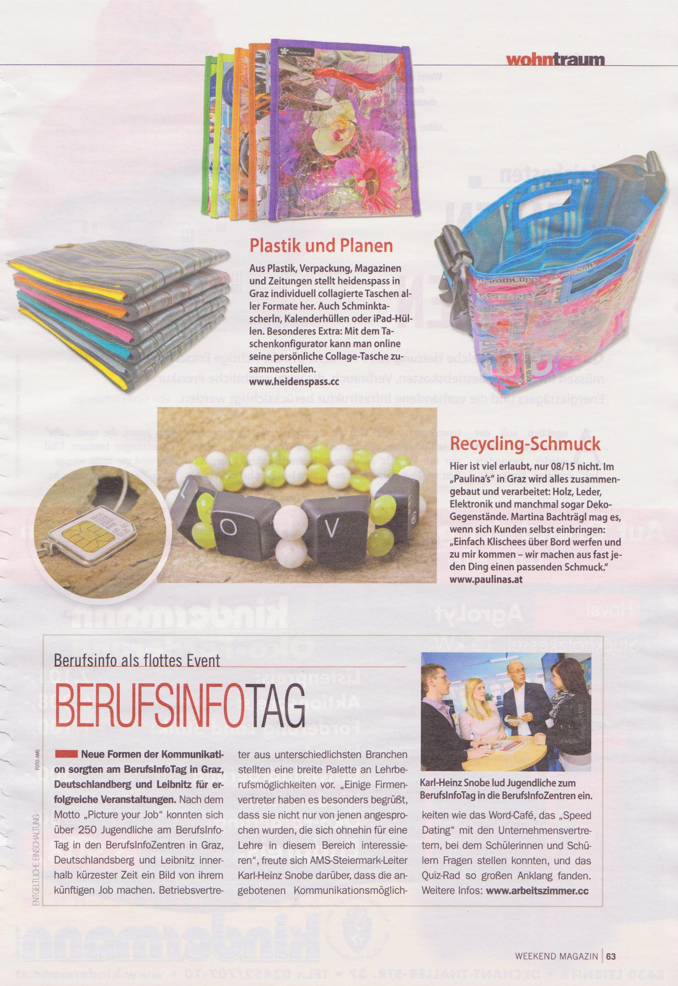 """Weekend Magazin"" Artikel ""Upcycling"""