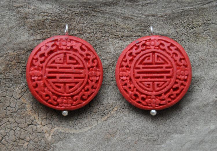 Keramik-Anhänger rot graviert für Wechsel-Ohrgehänge