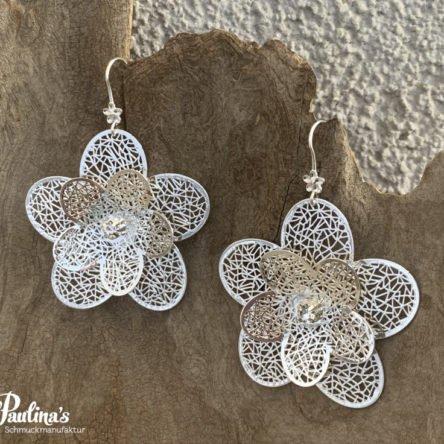 Ohrgehänge Blumen rhodiniert