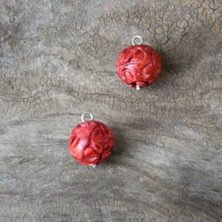 Schaumkoralle-Kugel graviert für Wechsel-Ohrgehänge