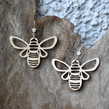 Ohrgehänge Bienen mittel Holz