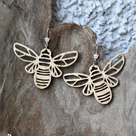 Ohrgehänge Bienen groß Holz