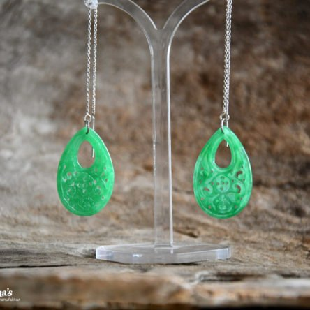 Ohrpendel mit grünem Jade-Tropfen