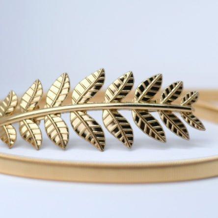 Taillengürtel elastisch, großes Blatt gold