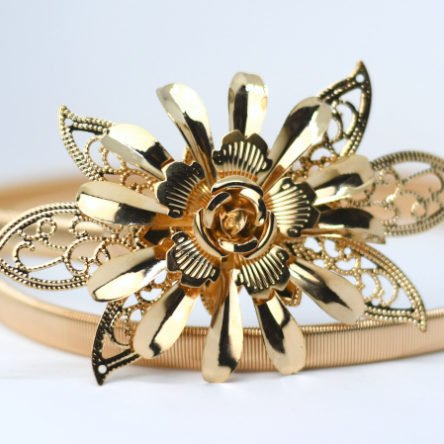 Taillengürtel elastisch, große Blume gold