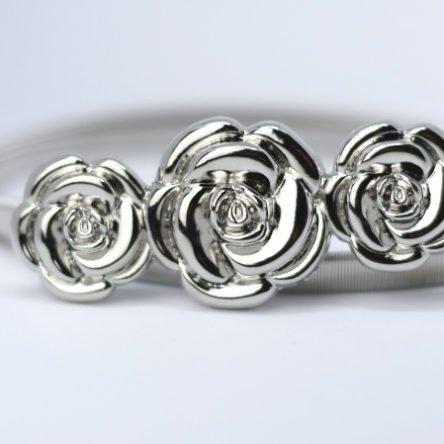 Taillengürtel elastisch, Rosen silber
