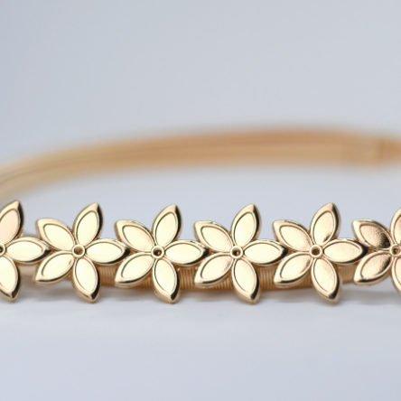 Taillengürtel elastisch, kleine Blumen gold